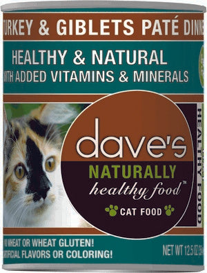 Daves Pet Food Naturally Healthy, Turkey & Giblets Pate Dinner 12/12oz