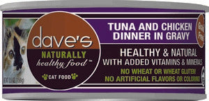 Daves Pet Food Naturally Healthy, Tuna & Chicken Dinner in Gravy 24/5.5oz