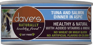 Daves Pet Food Naturally Healthy, Tuna and Salmon Dinner in Aspic 24/5.5oz