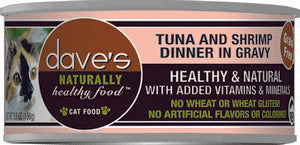 Daves Pet Food Naturally Healthy, Tuna & Shrimp Dinner in Gravy 24/5.5oz