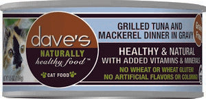 Daves Pet Food Naturally Healthy, Tuna & Mackerel Dinner in Gravy 24/5.5oz