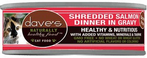 Daves Pet Food Naturally Healthy, Shredded Salmon in Gravy 24/5.5oz