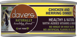 Daves Pet Food Naturally Healthy, Chicken & Herring Dinner  24/5.5oz