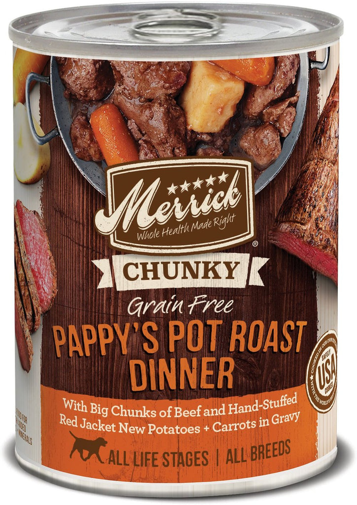 Merrick Grain Free Chunky Pappy's Pot Roast Dinner in Gravy 12pk/ 12.7 oz cans