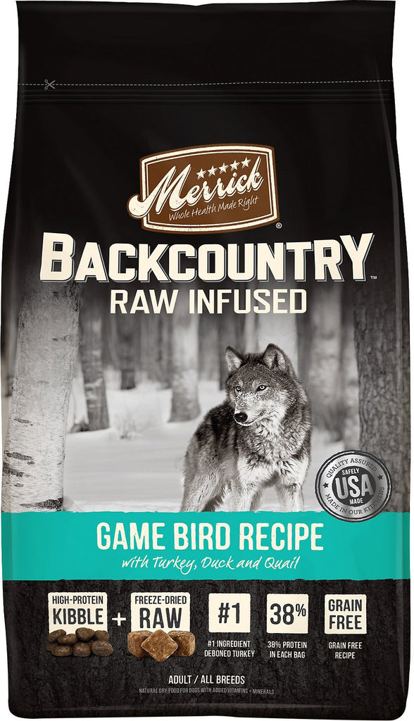 Merrick Backcountry Raw Infused Game Bird Recipe with Turkey, Duck & Quail Grain Free Dog Food