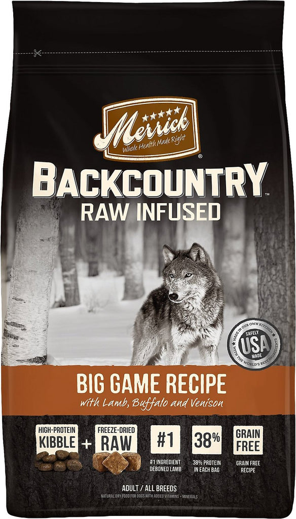 Merrick Backcountry Raw Infused Big Game Recipe with Lamb, Buffalo & Venison Grain Free Dog Food