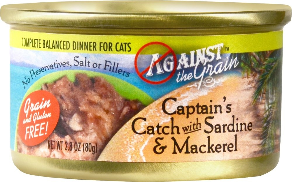 Against the Grain Captain's Catch with Sardine & Mackerel Canned Cat Food Dinner - 24 pk/2.8 oz