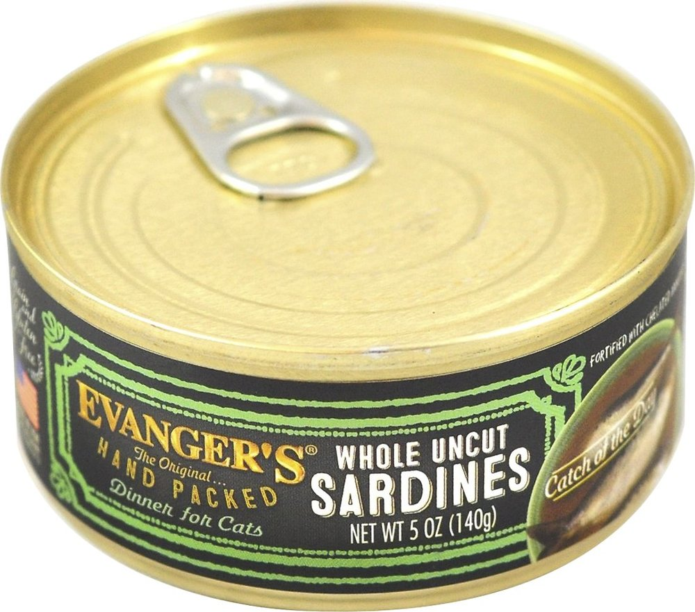 Evanger's Hand packed Catch of the Day Whole Uncut Sardines Grain-Free Canned Cat Food  24 pk/5 oz cans