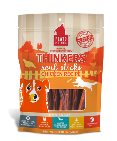 Plato Pet Treats Thinkers Chicken Sticks