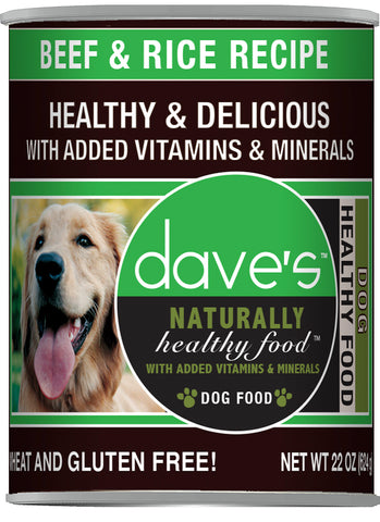 Daves Pet Food Naturally Healthy, Beef and Rice 12/22oz