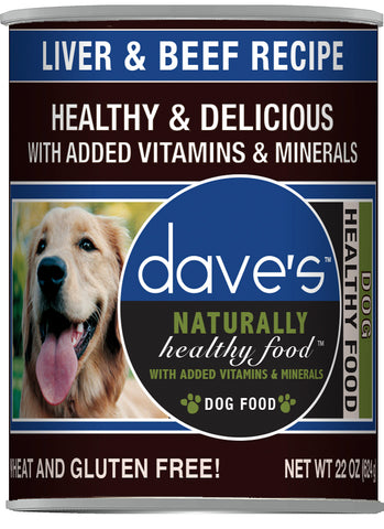 Daves Pet Food Naturally Healthy, Liver and Beef 12/22oz