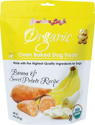Grandma Lucy's Organic Oven Baked Dog Treat Banana & Sweet Potato 14 oz Bag