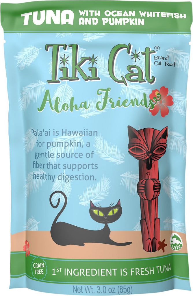 Tiki Cat Aloha Friends Tuna with Ocean Whitefish & Pumpkin Grain-Free Wet Cat Food  - 12 pk/3 oz pouches