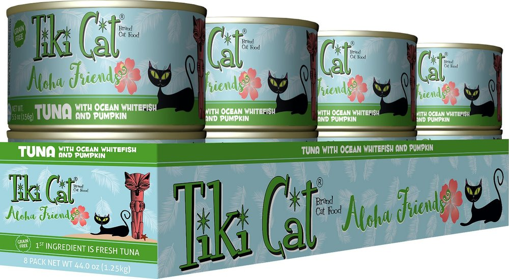 Tiki Cat Aloha Friends Tuna with Ocean Whitefish & Pumpkin Grain-Free Canned Cat Food - 8 pk/5.5 oz cans