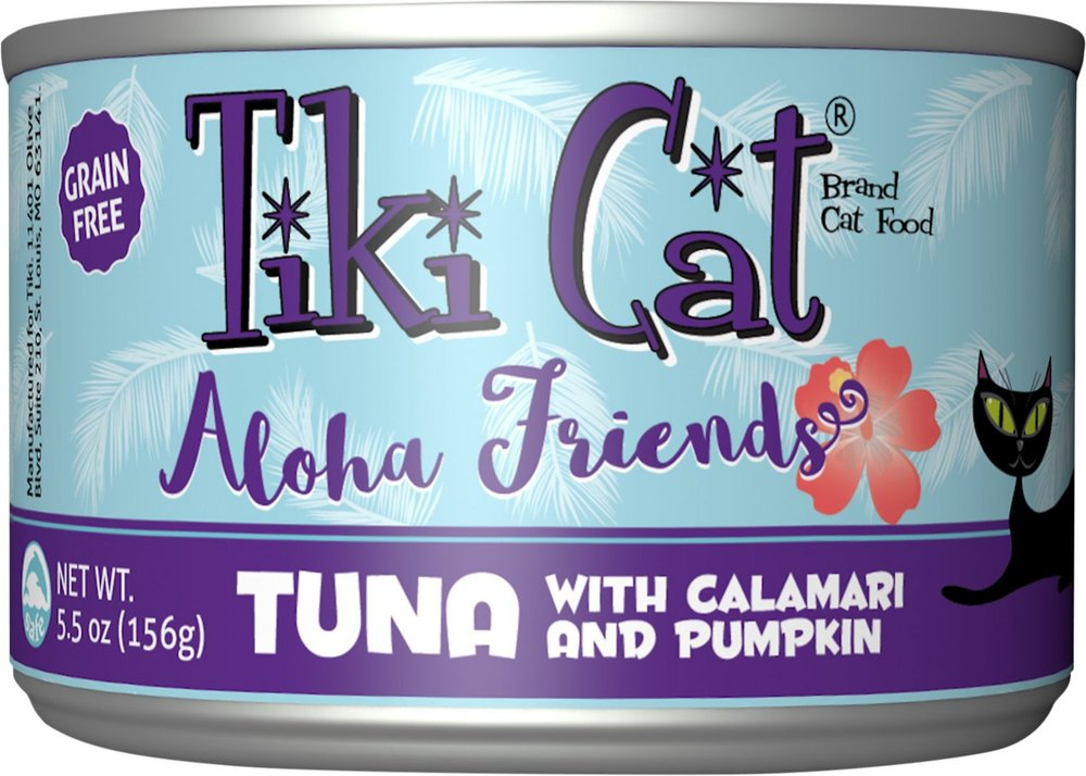 Tiki Cat Aloha Friends Tuna with Calamari & Pumpkin Grain-Free Wet Cat Food  - 8 pk/5.5 oz cans