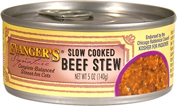 Evanger's Signature Series Feline Slow Cooked Beef Stew Canned Cat Food- 24 pk/5.5 oz cans