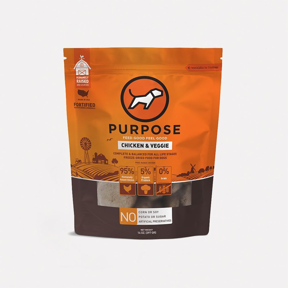 Purpose pet food freeze dried chicken/vegetable 14oz patties