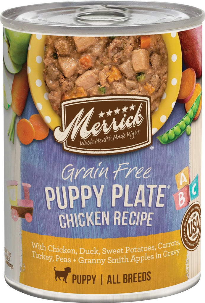 Merrick Pet Food Chicken Recipe Grain-Free Puppy Plate Canned Food