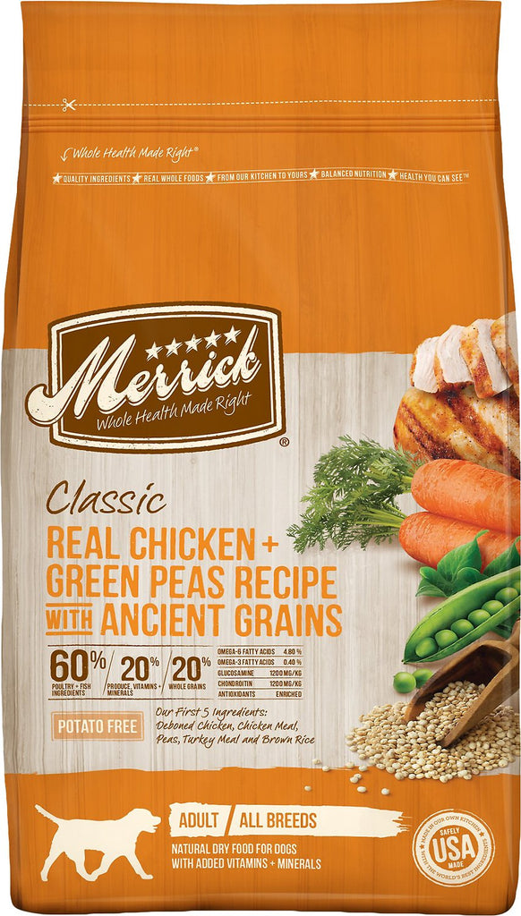 Merrick Pet Food Classic Real Chicken + Green Pea Recipe with Ancient Grains