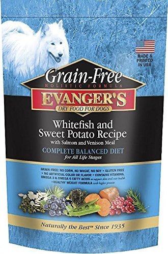 Evanger's Grain-Free Whitefish and Sweet Potato Recipe with Salmon and Venison Dry Dog Food  4.4 lb