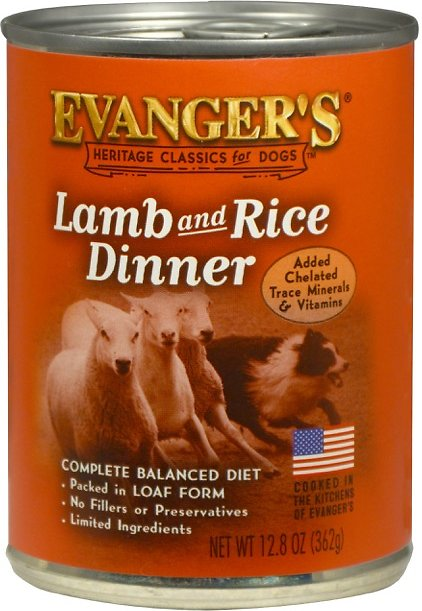 Evanger's Heritage Classics Lamb & Rice Dog Food 12 pk cans/12.8 oz