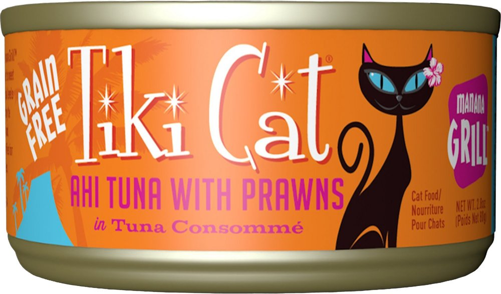 Tiki Cat Manana Grill- Ahi Tuna with Prawns in Tuna Consomme Grain-Free Canned Cat Food - 12 pk/2.8 oz