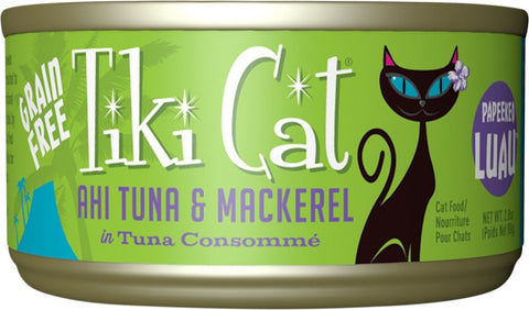 Tiki Cat Papeeko Luau - Ahi Tuna + Mackerel in Tuna Consomme Grain-Free Canned Cat Food - 12 pk/2.8 oz