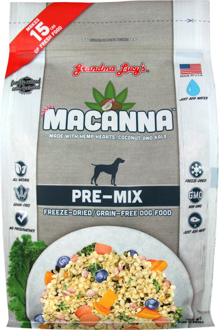 Grandma Lucy's Macanna Grain Free Freeze Dried Pre-Mix Dog Food 3 lb Bag