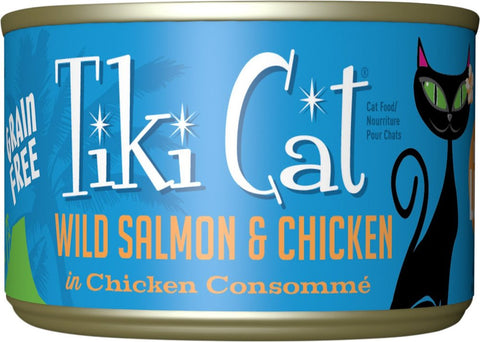 Tiki Cat Napili Luau - Wild Salmon & Chicken in Chicken Consumme Grain-Free Canned Cat Food - 8 pk/6 oz cans
