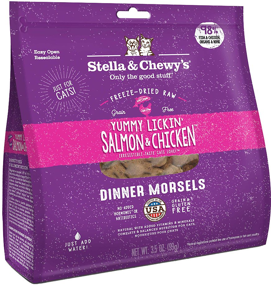 Stella & Chewy's Freeze Dried Raw Dinner Morsels for Cats Yummy Lickin' Salmon & Chicken Dinner Morsels