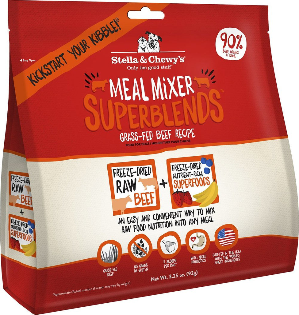 Stella & Chewy's Superblends Freeze Dried Raw Meal Mixers For Dogs -Grass Fed Beef