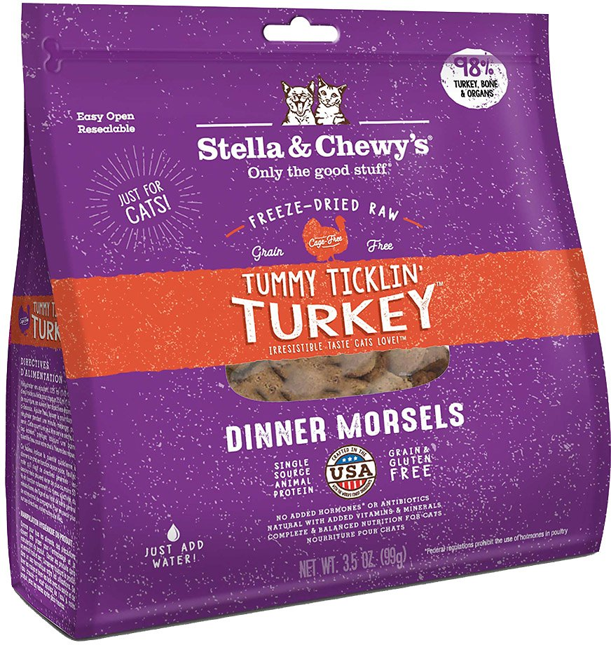Stella & Chewy's Freeze Dried Raw Dinner Morsels for Cats Tummy Ticklin' Turkey Dinner Morsels