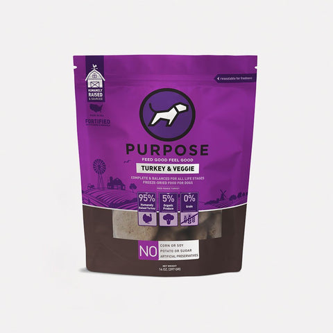 Purpose pet food freeze dried turkey/vegetable 14oz patties