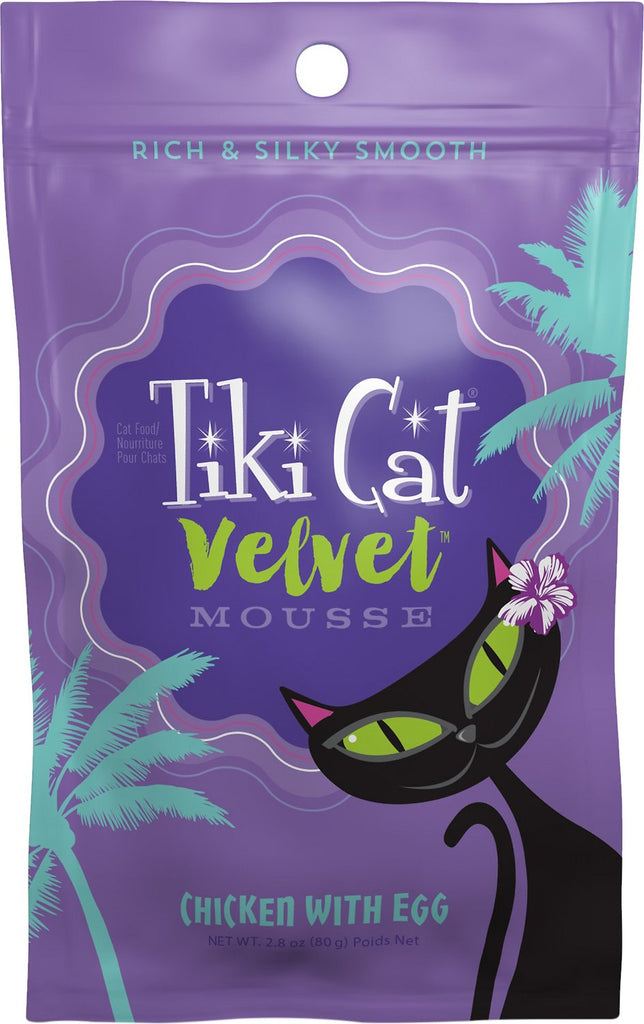 Tiki Cat Velvet Mousse Chicken & Egg Grain-Free Canned Cat Food - 12 pk/2.8 oz pouches