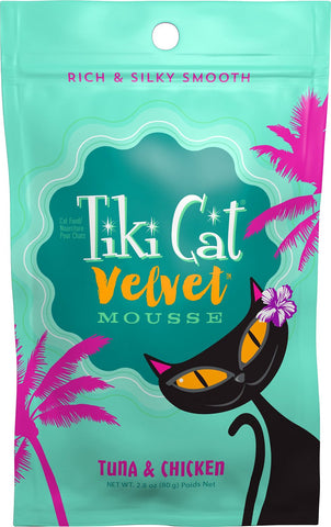 Tiki Cat Velvet Mousse Tuna & Chicken Grain-Free Wet Can Food - 12 pk/2.8 oz pouches