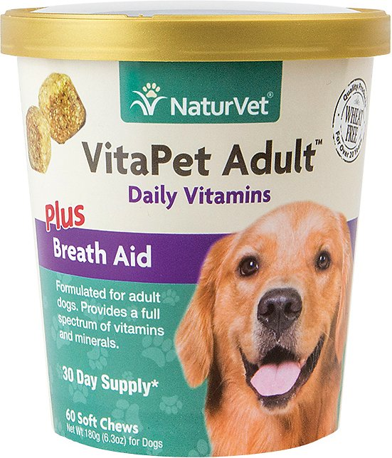NaturVet Vitamins - Vita Pet Adult Plus Breath Aid Soft Chew - 60 count