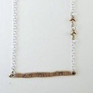 Intention Necklace with Gold Mantra Bar
