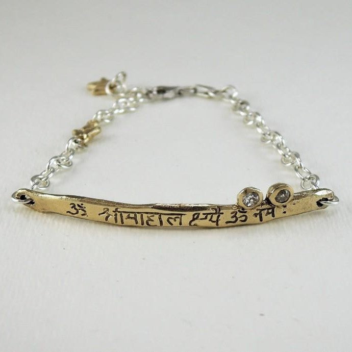 Gold and two Diamond Intention Bracelet