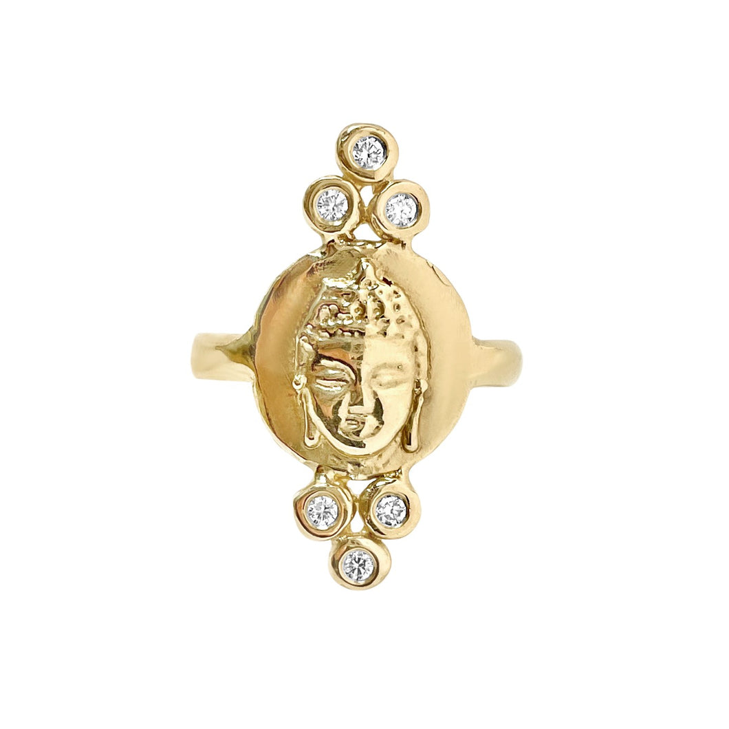 Triple Diamond Buddha Ring