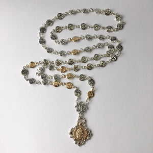 Silver and Gold 54 Element Buddha Mala