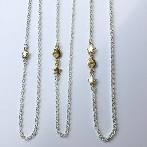 Sterling Silver Chain with Gold Star and Moon Option
