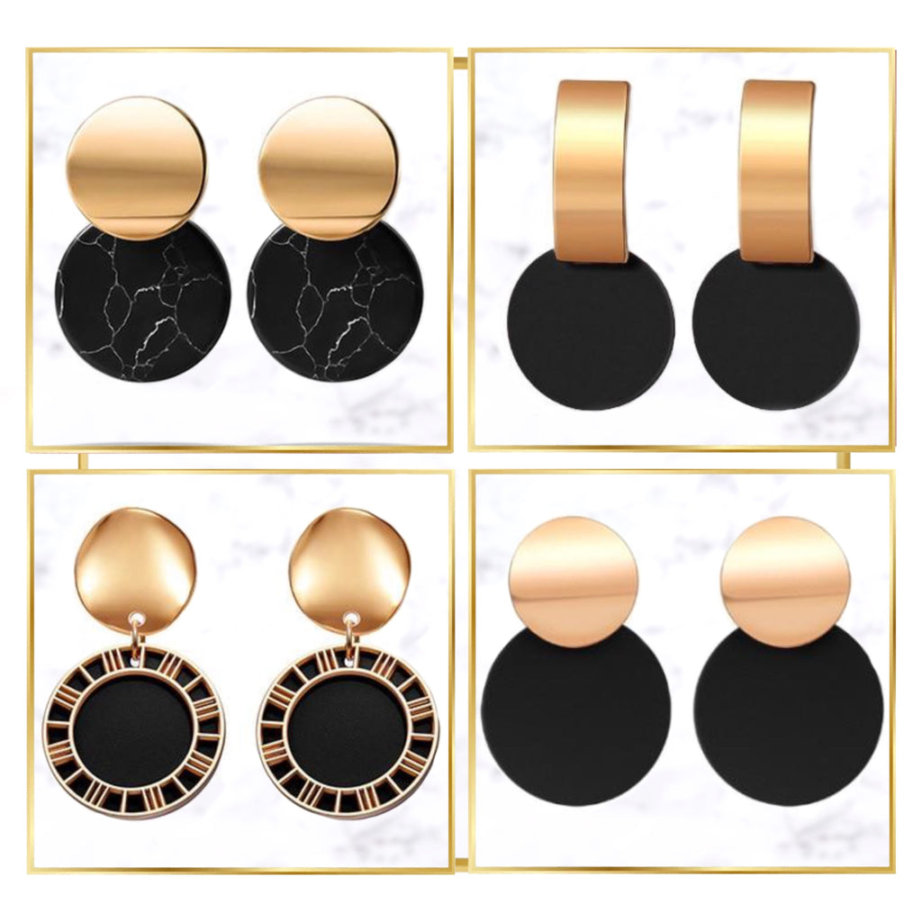 Minimalist Black Gold-Touch Earring Collection