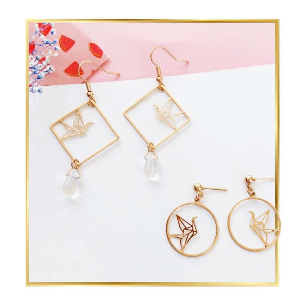 Gold Geometric Bird Earring