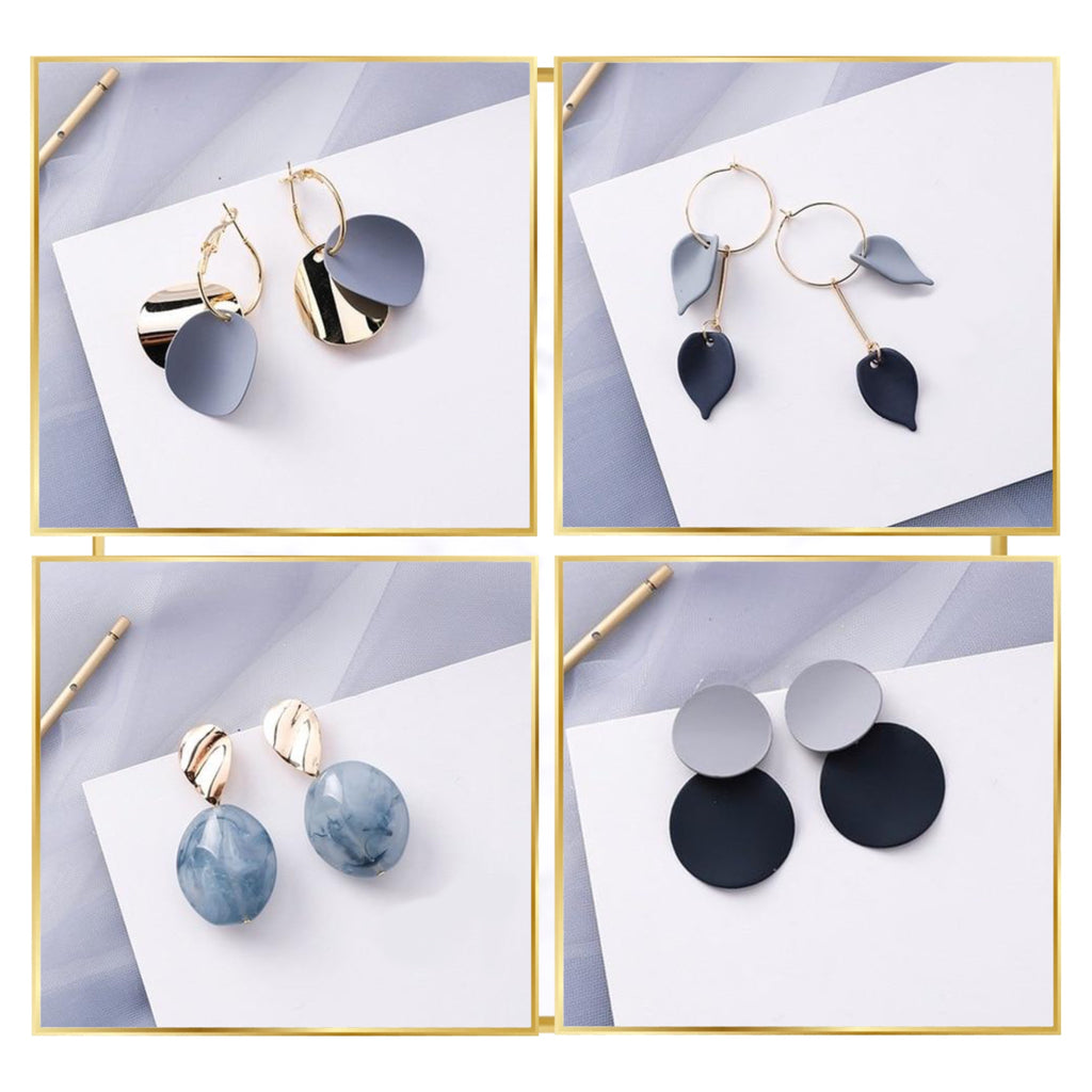 Gold-Touch Blue Geometric Earring Collection