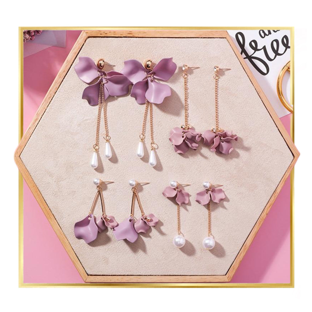 Minimalist Rose Floral Drop Earring Collection