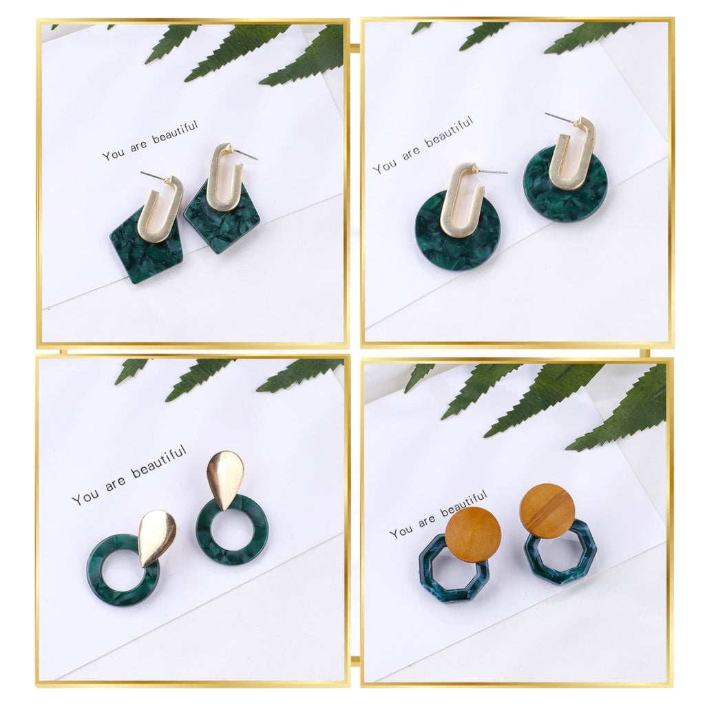 Petrol Floral Geometric Earring Collection