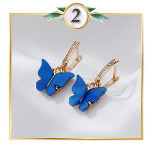 Gold-Touch Gem Butterfly Earring Collection