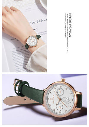 Minimalist Floral Day/Date/Time Wrist Watch Collection