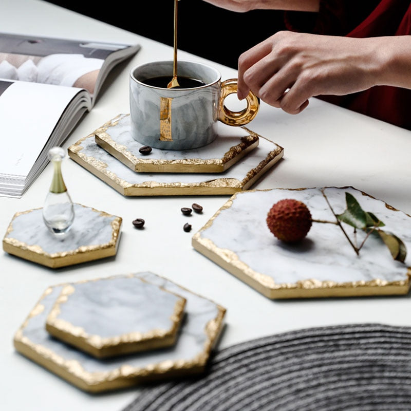 Gold-Touch Marble Tray