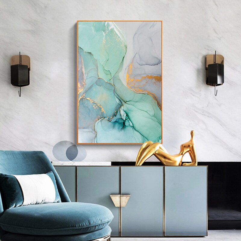 Agate Gold-Touch Marble Canvas Wall Art